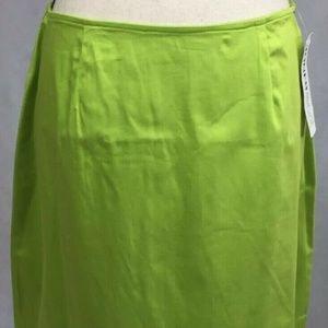 NWT JONES&CO Women's 14 Lime Green A-Line Skirt